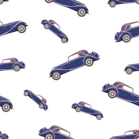 Illustration for gift paper, textiles, clothes, social networks, wallpaper, prints, festive decor. Seamless pattern with retro blue car 版權商用圖片