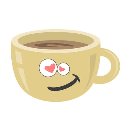 Coffee cup on white isolated background. Espresso. Black coffee icon. Vector. Funny cup with a smile and hearts. Ilustração