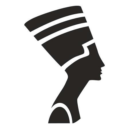 Nefertiti icon. Black silhouette Nefertiti on a white background. Flat illustration.
