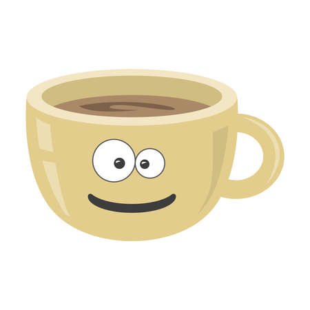 Funny cup with emotion. Black coffee icon. Vector. Coffee cup on white isolated background.
