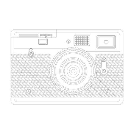 Outline Vector. Line art illustration front view to retro camera.
