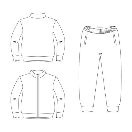 Blank bomber jacket with zipper and trousers front, back view. Isolated on white. Vector drawing for coloring. Clothes icon collection.