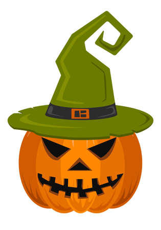 Helloween. Pumpkin with green witch hat on white background. For gift paper, textiles, clothes, social networks, wallpaper, prints, festive decor. Vector illustration.