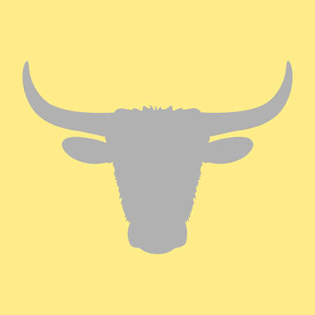 Bull vector on yellow background. Horned bull cow vector icon.