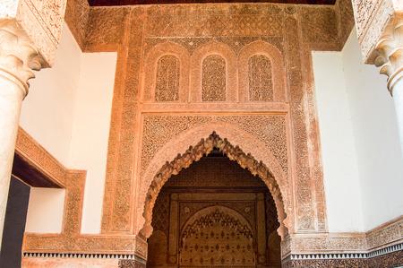 arabe: detalle arquitectónico del marrakesh edificios arabe