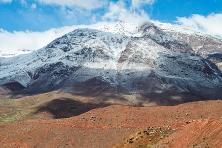 landscape of Mount Atlas in Morocco with herd of goats on the basis photo