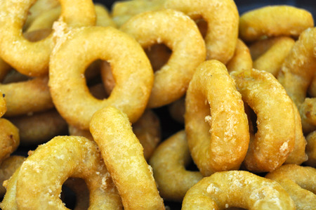 coatings: breaded calamari dough with flour and fried in oil