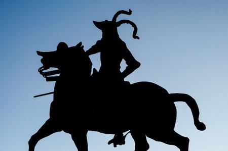 pizarro: Statue of Pizarro in the Plaza Mayor in Trujillo, Extremadura, Spain