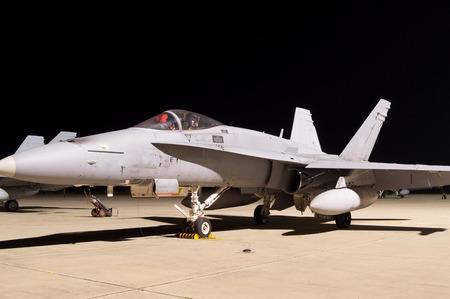 f18: Fighter Jet F-18 night on land