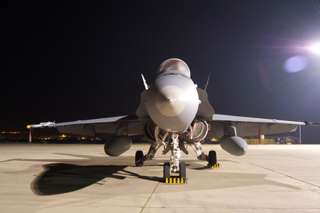 f 18: Fighter Jet F-18 night on land
