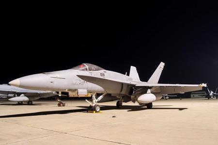 f 18: Fighter Jet F-18 night on land