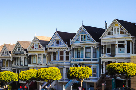 The famous  Painted Ladies  of Alamo Square  San Francisco