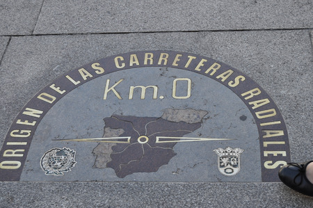 kilometer: kilometer zero located in the Puerta del Sol in Madrid,