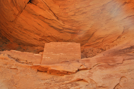anasazi ruins: Anasazi ancient town on the Navajo Reservation with pictographs in Mystery Valley Stock Photo