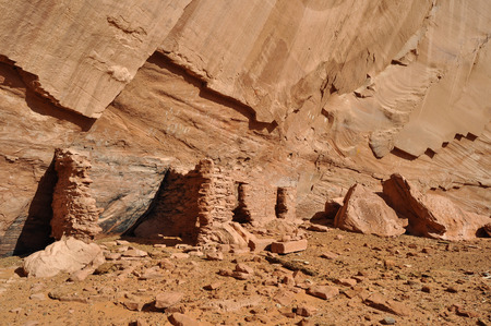 anasazi: Anasazi ancient town on the Navajo Reservation with pictographs in Mystery Valley Stock Photo