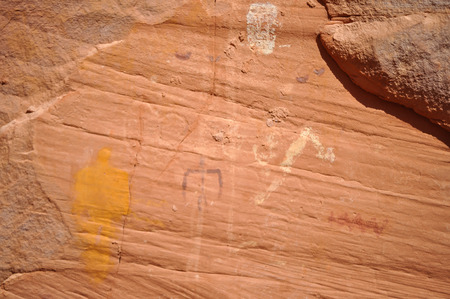 Ancient petroglyphs in Monument Valley