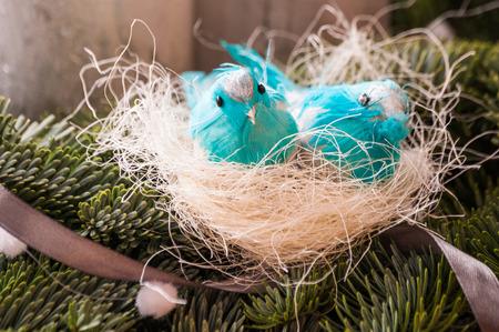 nido de pajaros: Decoraci�n de Navidad con los p�jaros azules nido