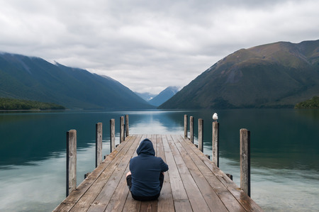 new horizon: Tranquil scene at Nelson Lake National Park in the South Island of New Zealand Stock Photo