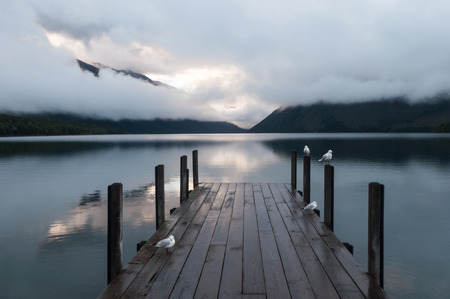 nelson: Tranquil scene at Nelson Lake National Park in the South Island of New Zealand Stock Photo