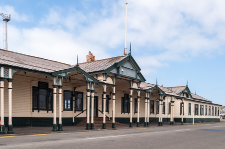 oamaru: Beautiful architecture of the Railway Station Oamaru, New Zealand. Built in 1900 Stock Photo