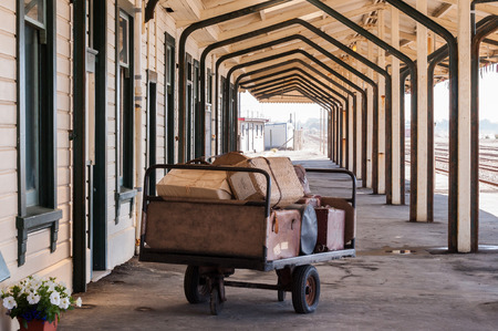 oamaru: old suitcases on the platform of the station Oamaru in New Zealand Stock Photo