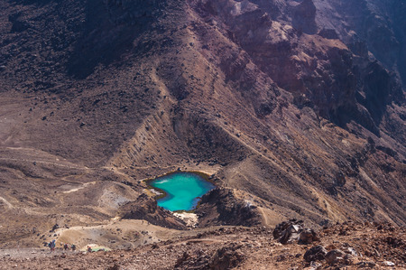 tongariro national park: Emerald lakes during the Tongariro crossing trek, Tongariro National Park on the North island of New Zealand
