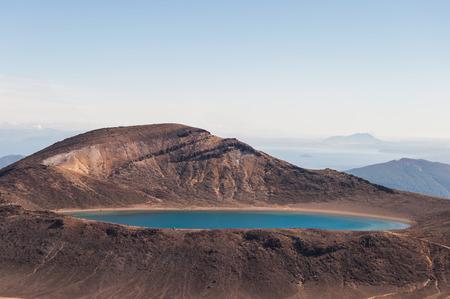 tongariro national park: New Zealands Tongariro national park blue lake. Stock Photo