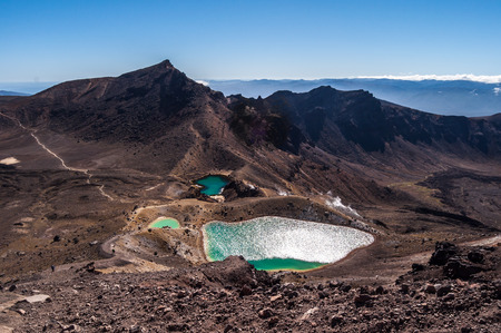 Emerald lakes during the Tongariro crossing trek, Tongariro National Park on the North island of New Zealand photo