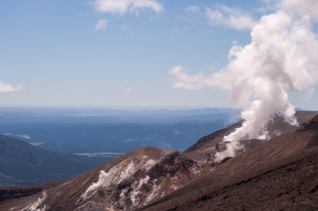 active volcano: active volcano of Tongariro National Park in New Zealand Stock Photo