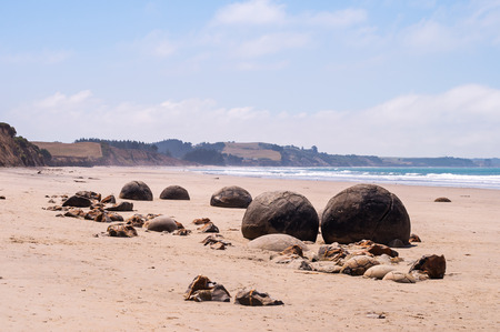boulders: Moeraki Boulders, New Zealand, spherical geological formations