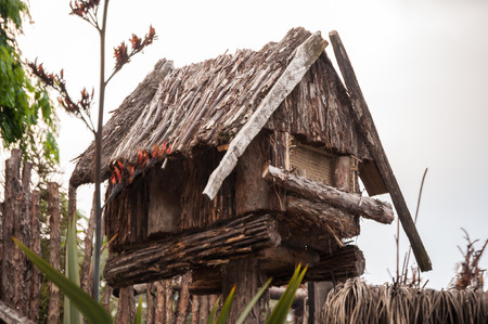 reproduction: miniature reproduction of a classic New Zealand Maori hut Stock Photo