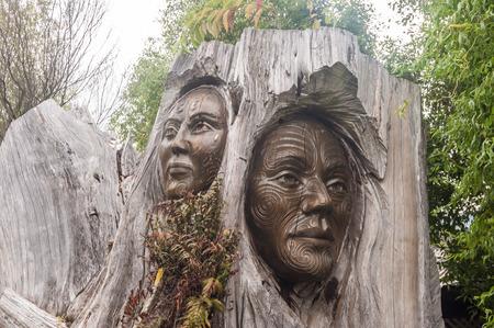 Nelson, New Zealand Close-Up of Iconic Papa and Rangi Sculpture at Arts Unique, next to the entrance to the Abel Tasman National Park, Marahau, Tasman Region, New Zealand.
