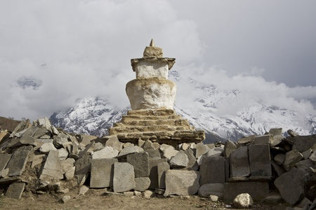 sherpa: Stupa. Nepali Sherpa mountain stupa in mountain background