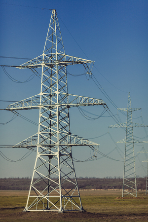 High voltage lines and power pylons in a flat and green agricultural landscape on a sunny day.