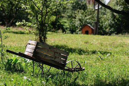 Wooden trolley in the garden