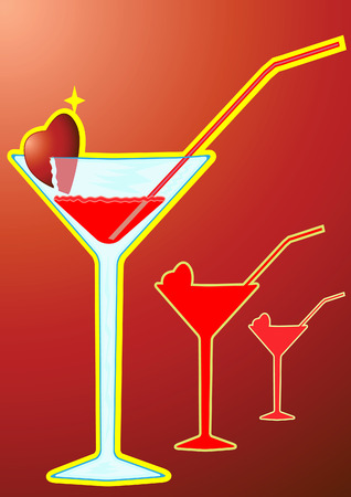 abstract illustration -card-poster on which the wine glass with a cocktail Stock Vector - 6580357