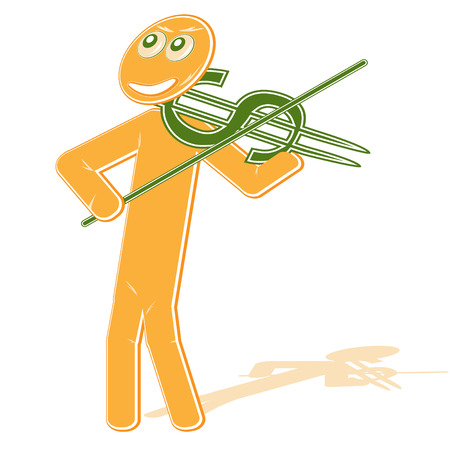 violinist:  The  illustration with the abstract image of the violinist with a violin stylized under a sign on dollar, symbolizes - game at a financial stock exchange, money.... music