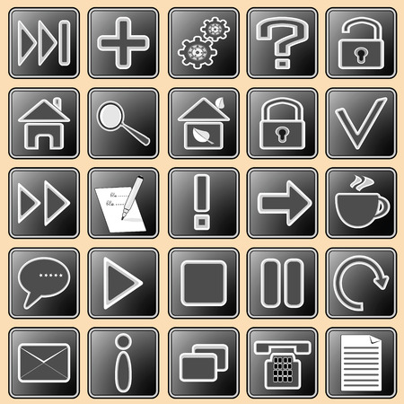 illustration with the image of buttons with icons for web devices and the Internet Stock Vector - 6787671