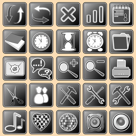 illustration with the image of buttons with icons for the Internet and web devices Stock Vector - 6787677