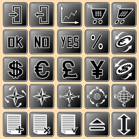 illustration with the image of buttons with icons for the Internet and web devices Vector