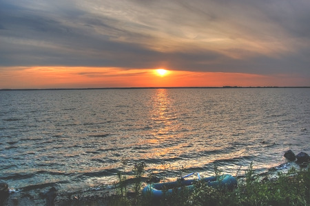 urals: Sunset over the lake. Lakes of the Southern Urals. Russia. . . .