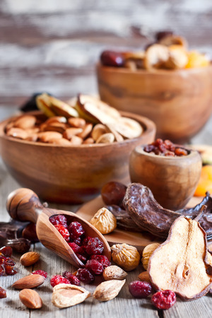 shvat: Mix of dried fruits and almonds - symbols of judaic holiday Tu Bishvat. Stock Photo