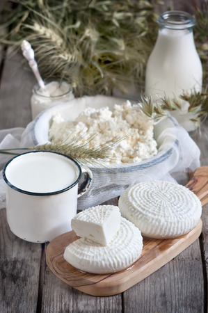 shavuot: Tzfat cheese, milk, cottage cheese, wheat and oat grains on old wooden background. Concept of judaic holiday Shavuot.