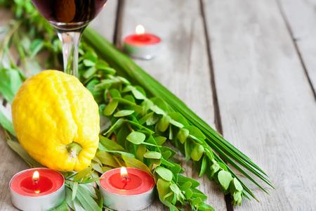 Symboles de fête juive de Souccot automne, loulav - etrog, branche de palmier, de myrte et de saule - sur fond vieux bois.