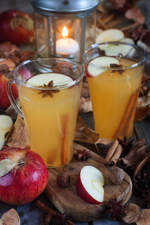 Hot apple cider with cinnamon sticks and spices on fall leaves background Stock Photo