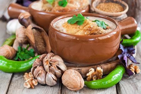 Satsivi - georgian traditional stewed chicken with walnut gravy.