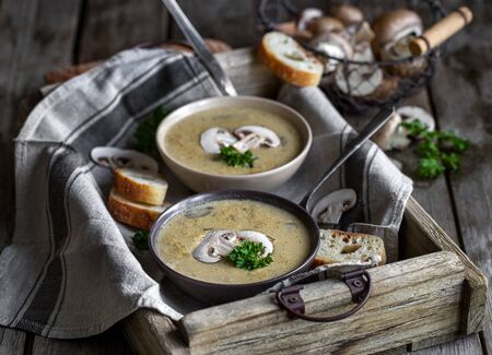 Delicious homemade mushrooum soup puree with portobello and wild mushrooms on rustic table