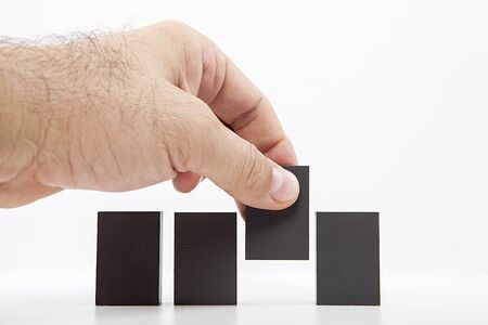 Building concept with wooden blocks.Business concept. Choose the ideal person from many candidates.