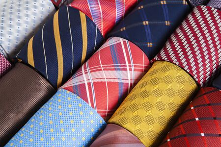 Plaid, checkered silk ties template. Easy editable colors. Colored silk tie. Colored silk tie on white background.