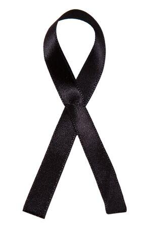 Black ribbon on white background. Aids awareness black ribbon. Melanoma and skin cancer awareness.
